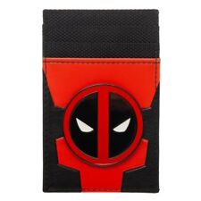 MARVEL COMICS DEADPOOL METAL BADGE LOGO MENS CARD HOLDER FRONT POCKET WALLET