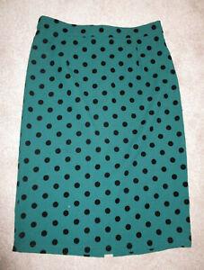 Collectif Green/Black Velvet Spot  Straight Midi Skirt 14