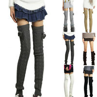 1 Pair Women's Leg Warmers Long Winter Knitted Thigh High Legging Socks Stocking