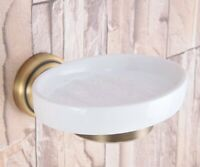 Bathroom Accessory Wall Mounted Antique Brass Ceramic Soap Dish Holder Zba741