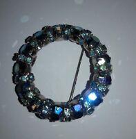 Vintage Warner Iridescent Rhinestone Brooch Blue Stones