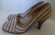 Nos intage 50s Brown Cream Straw Mesh Peep Toe Shoes 6 1/2 Fashion Craft