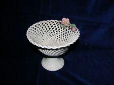 Vaso centrotavola porcellana intrecciata con fiori - VINTAGE
