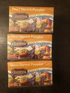 Sealed Celestial Seasonings Sweet Harvest Pumpkin Black Tea - 3 Boxes / 60 bags
