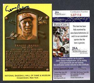 JSA Ernie Banks Autographed Signed HOF Postcard Chicago Cubs TRB 486