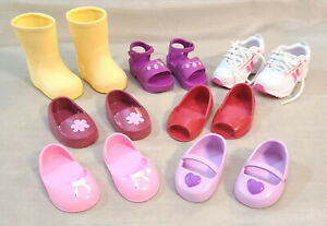 """7 Pairs Battat Shoes Fit American Girl & Other18"""" Dolls Boots Sandals Sneakers"""