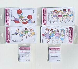 Lot Of 6 Ai Art Impressions Original Rubber Stamps Unmounted Girlfriends NOS