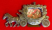 Horse Drawn Princess Royal Coach Carriage Cast Metal Picture Frame Silver tone