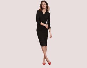 Boden Ruched Wrap Dress Black UK 6 Regular LN005 MM 16