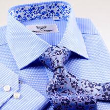 Blue Men's Basketwoven Formal Business Dress Shirt Blue Paisley Button Cuff
