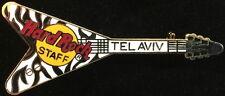 Hard Rock Cafe TEL AVIV 1993 Black & White Zebra Flying V GUITAR STAFF PIN #9711