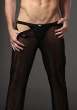 Mens Mesh Sheer Transparent Long Pants Home Wear Gauze Underwear Breathable D623