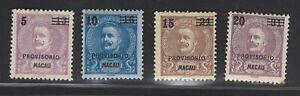 Portuguese Macau Stamps | 1899 | D. Carlos I Provisorio | MH #91-94
