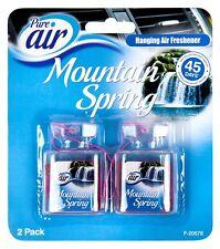 2 Pack Pure Air Car Hanging Air Freshener Mountain Spring Fresh Fragrance New UK