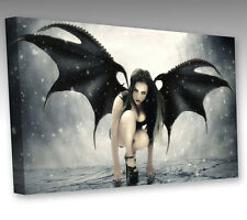 "LARGE DARK GOTHIC ANGEL WINGS 16x12"" FRAMED MODERN CANVAS WALL ART PICTURE PRINT"