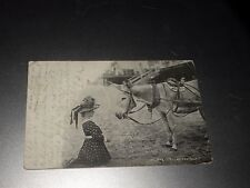 ANTIQUE ATLANTIC CITY CAN YOU TALK POSTCARD girl with donkey 1902 photo