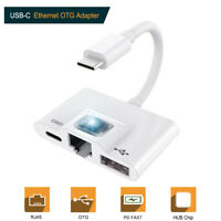 OTG Adapter for Type C to RJ45 Ethernet LAN USB 3.0 For Macbook PC Huawei P20