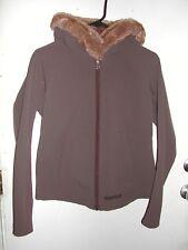 Marmot Fur Hooded Women's Medium Hoodie Zip Up Front Winter Jacket Nice