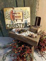 PRIMITIVE ANTIQUE VICTORIAN VINTAGE STYLE A MERRY CHRISTMAS SANTA PAINTS SIGN