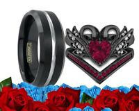 His Tungsten Black And Her Cz Red Ruby Black Gold Engagement Wedding Ring Set