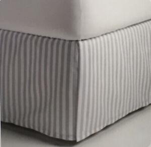 "Gray White Striped FULL / DOUBLE Stripe Box Pleat Microfiber Bedskirt 14"" Drop"