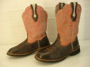 Ariat Women's sz 7.5 B M Showbaby Western Boots Brown Rowdy Rose Leather Fatbaby