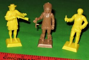 NICE LOT OF VINTAGE MARX 3 RARE COLORED 60 MM CHARACTER FIGURES...