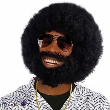 Mens Black Afro Wig Beard Lionel Facial Hair 1970s Disco Fancy Dress Accessory
