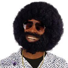 Para Hombre Negro Afro Peluca Barba Lionel Facial Cabello 1970s Discoteca Disfraz Accesorio