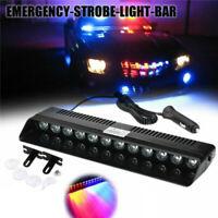 Red/Blue Car TrucK Strobe Emergency Flashing Light 12LED Warning Lamp Bar Beacon