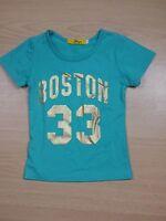 YAYA Fille 4 ans joli haut top tee shirt manches courtes bleu vert T-shirt