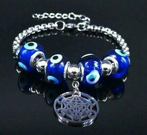 Metatron's Cube Nazar bead Evil-eye beads Hamsa Bracelet Symbol Talisman Amulet