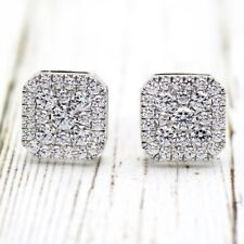Sterling Silver 925 Cluster Earring Octagon shape 1.00ct  cubic zirconia