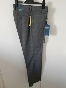 "SPITALFIELDS Men's Grey Check M/C Wash Trousers W34"" L31"" Slim Fit rrp £75 NEW"
