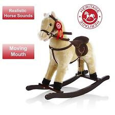 Heritage Childrens/Kids 68cm Beige Cream Rocking Horse With Sounds Moving Mouth