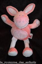 Doudou Cheval Ane Zebre Carrefour TEX Baby rose et rayé avec foulard, 35 cm