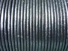5 mètres cordon cuir lacet cuir noir diam. 2 mm
