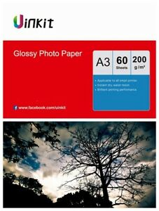A3 Paper Inkjet Paper High Glossy Super White  200Gsm Uinkit - 60 Sheets