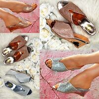 Women Diamante Slip On Slides Metallic Mules Mid Wedge Heel Sandals Shoes Size