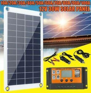 30W 12V Solar Panel Einkristallin Silikon Batterieladegerät Set  B
