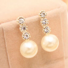 Women's White Faux Pearl Earrings Rhinestone Eardrop Ear Studs Bride Jewelry Hot