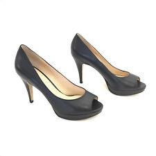 Women's Enzo Angiolini Black Leather Open Toe Heels Size 8.5 M