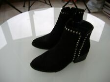 "Womens ""Love Boots"" Ankle Boots,uk size 5, Black Suede, Studded trim."