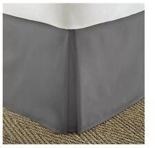 Ienjoy Premium Bed Skirt Cal King Gray Pleated, Hypoallergenic 72W X 84L +14drop