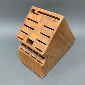 "Wooden Knife Block Stand Cutlery Storage Organizer 19 Slots Brown 9"" High x 11"""