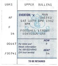 Everton contre Manchester United 1981/1982 ticket