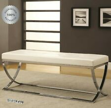 White Accent Bench Entryway f/ Leather Metal Chrome Upholstered Bed End Ottoman