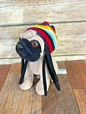 "Doug The Pug Collectible Plush Rasta Hat Dreadlocks 6""  Dog"