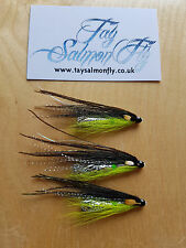"3x Black and Chartreuse Specials 2"" Aluminium Tube Salmon Fishing Flies"