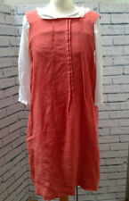 Toast Coral Linen Cross Apron Back Pinafore Dress Size 10